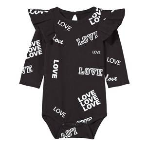 The BRAND Girls Childrens Clothes All in ones Black Flounce Baby Body Black Love