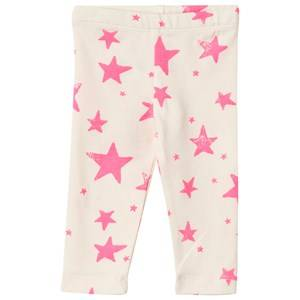Noe & Zoe Berlin Unisex Childrens Clothes Bottoms White Baby Leggings Neon Pink Stars