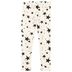 Noe & Zoe Berlin Unisex Childrens Clothes Bottoms White Baby Leggings Black Stars