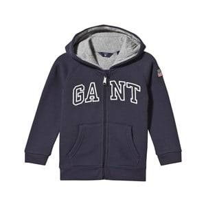 Gant Boys Childrens Clothes Jumpers and knitwear Navy Logo Zip Hoodie Navy
