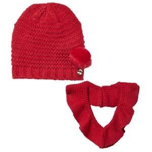 Mayoral Girls Childrens Clothes Winter sets Red Red Pom Pom Knitted Hat and Scarf Set