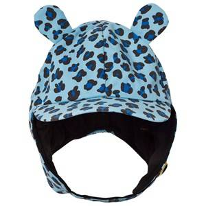 Mini Rodini Unisex Childrens Clothes Headwear Blue Alaska Leopard Cap Blue