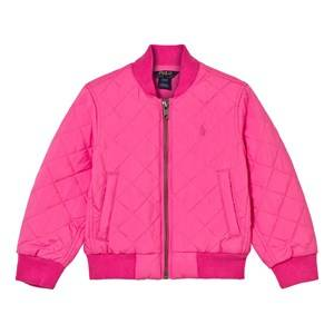 Ralph Lauren Girls Childrens Clothes Coats and jackets Pink Quilted Baseball Jacket Madison Pink