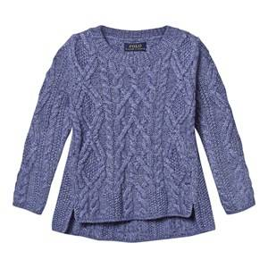 Ralph Lauren Girls Childrens Clothes Jumpers and knitwear Blue Aran-Knit Cotton-Blend Sweater Active Royal
