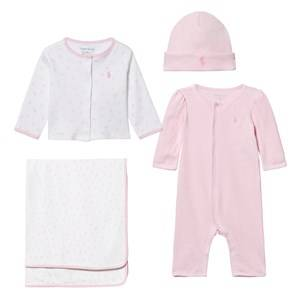Ralph Lauren Girls Childrens Clothes Clothing sets Multi ABC 4-Piece Gift Set Fresh Pink/White