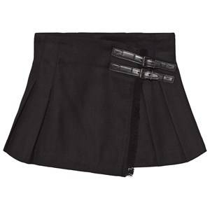 Burberry Girls Childrens Clothes Skirts Black Fringed Wool Kilt Black