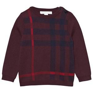 Burberry Unisex Childrens Clothes Jumpers and knitwear Red Check Wool Cashmere Blend Sweater Deep Claret