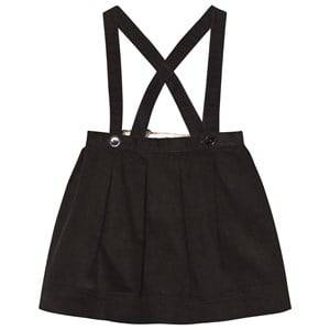 Burberry Girls Childrens Clothes Skirts Black Cotton Corduroy Skirt with Straps Black