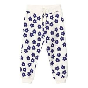 Mini Rodini Girls Childrens Clothes Bottoms White Blossom Sweatpants Off White