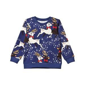Mini Rodini Unisex Childrens Clothes Jumpers and knitwear Navy Reindeer Sweatshirt Navy