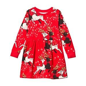 Mini Rodini Girls Childrens Clothes Dresses Red Reindeer Dress Red