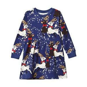 Mini Rodini Girls Childrens Clothes Dresses Navy Reindeer Dress Navy