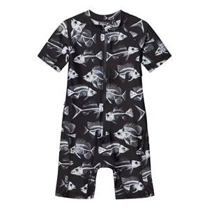 Molo Unisex Swimwear and coverups Black Neka Swimsuit Fish Skeleton