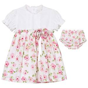 Emile et Rose Girls Dresses White Kathryn White and Floral Cotton Dress with Knickers