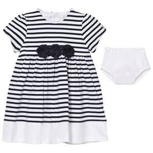 Emile et Rose Girls Dresses Navy Kiki White and Navy Stripe Dress with Knickers