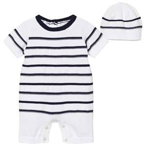 Emile et Rose Boys All in ones Navy Navy and White Kendrick Knit Romper