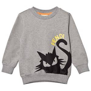 Fendi Boys Jumpers and knitwear White Grey Branded Cat Print Sweatshirt