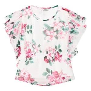 Guess Girls Tops Pink White and Floral Chiffon Blouse