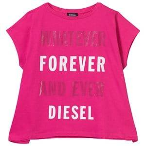 Diesel Girls Tops Pink Whatever Whenever Pink Oversize Tee