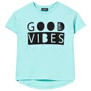 Diesel Girls Tops Green Good Vibes Mint Oversize Tee
