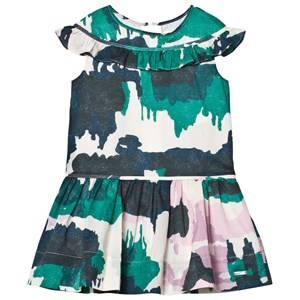 Burberry Girls Dresses Green Green and Pink Cotton Dress with Frill Neckline Detail