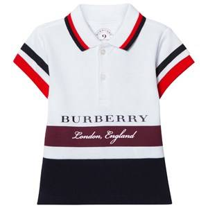 Burberry Boys Tops Red White and Burgundy Stripe Branded Polo