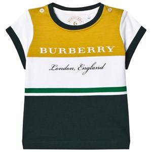 Burberry Boys Tops Yellow Yellow and Green Branded Tee