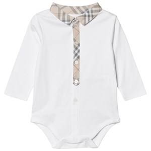 Burberry Boys All in ones White Check Detail Cotton Body White
