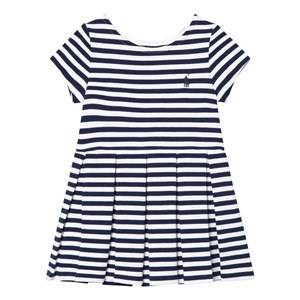 Ralph Lauren Girls Dresses Blue Striped Pleated Ponte Dress
