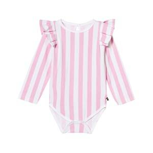 The BRAND Girls All in ones Pink Flounce Baby Body Pink Stripe