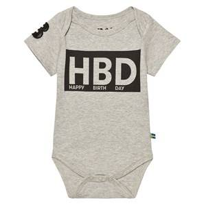 The BRAND Unisex Private Label All in ones Grey HBD Baby Body Grey Mel
