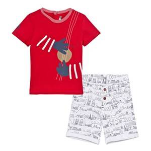 Catimini Boys Clothing sets Multi Tee and Shorts set Red and White Paris Scribble