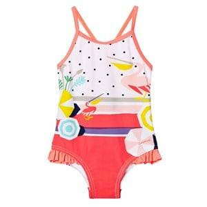 Catimini Girls Swimwear and coverups Pink Multi Pelican and Spot Print Swimsuit
