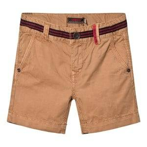 Catimini Girls Shorts Brown Tan Shorts with Stripe Waist Detail