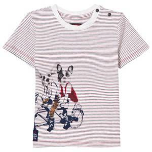 Catimini Girls Tops Red Multi Stripe and Dog Print Tee