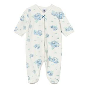 Petit Bateau Girls All in ones White White Velour with Blue Floral Print