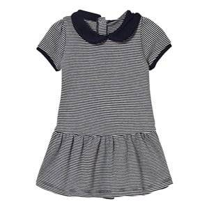 Petit Bateau Girls Dresses Navy Navy Stripe Collared Jersey Dress