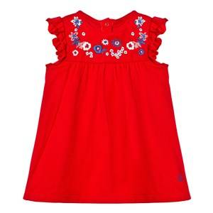 Petit Bateau Girls Dresses Red Red Floral Embroidered Yoke Dress