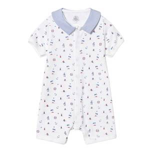 Petit Bateau Girls All in ones White White Beach Print Romper with Contrast Collar