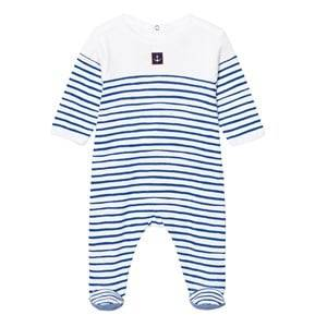 Petit Bateau Boys All in ones Blue Blue and White Stripe Footed Baby Body with Anchor Patch
