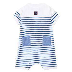 Petit Bateau Boys All in ones Blue Blue and White Stripe Romper with Anchor Patch