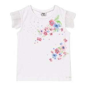 Mayoral Girls Tops White White Multi Floral Top with Tulle Sleeves