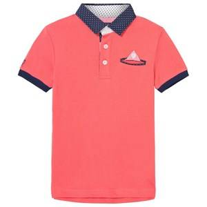 Mayoral Boys Tops Orange Coral Smart Polo with Contrast Collar