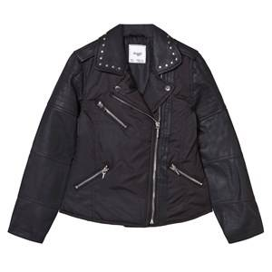 Mayoral Girls Coats and jackets Black Black Pleather and Nylon Biker Studded Jacket