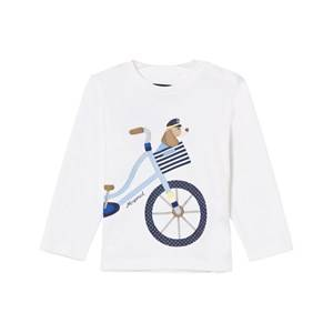 Mayoral Boys Tops White White Puppy and Bike Print Tee