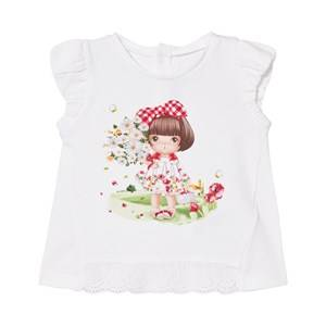 Mayoral Girls Tops White Daisy and Girl Print Tee in White