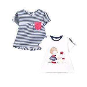 Mayoral Girls Tops Navy Pack of 2 Girl Print and Stripe Tees