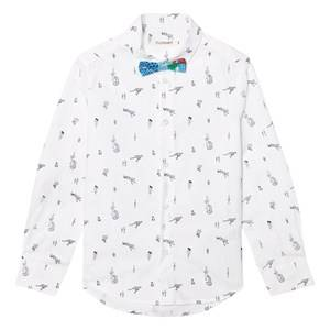 Billybandit Boys Tops White White Leopard and Cactus Print Shirt and Bow Tie