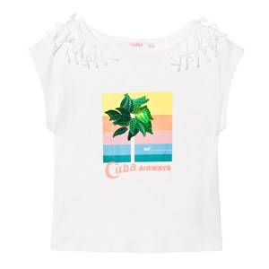 Billieblush Girls Tops White White Cuba Tee with 3D Leaf Applique