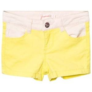 Billieblush Girls Shorts Yellow Neon Yellow and Pink Denim Shorts